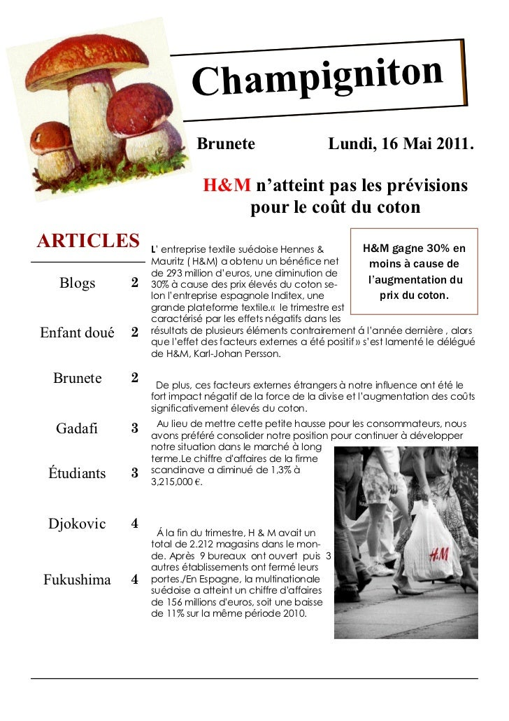 C hampigniton                            Brunete                       Lundi, 16 Mai 2011.                             H&M...