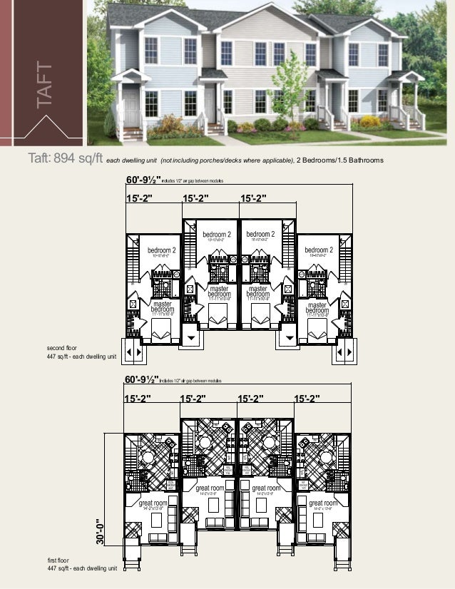 Multi family unit floor plans for Multi dwelling house designs