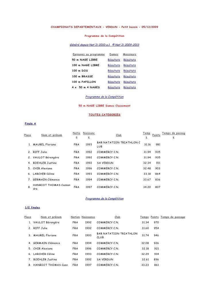 CHAMPIONATS DEPARTEMENTAUX - VERDUN - Petit bassin - 05/12/2009                                             Programme de l...