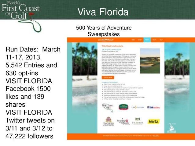 Florida 500 years of adventure sweepstakes online