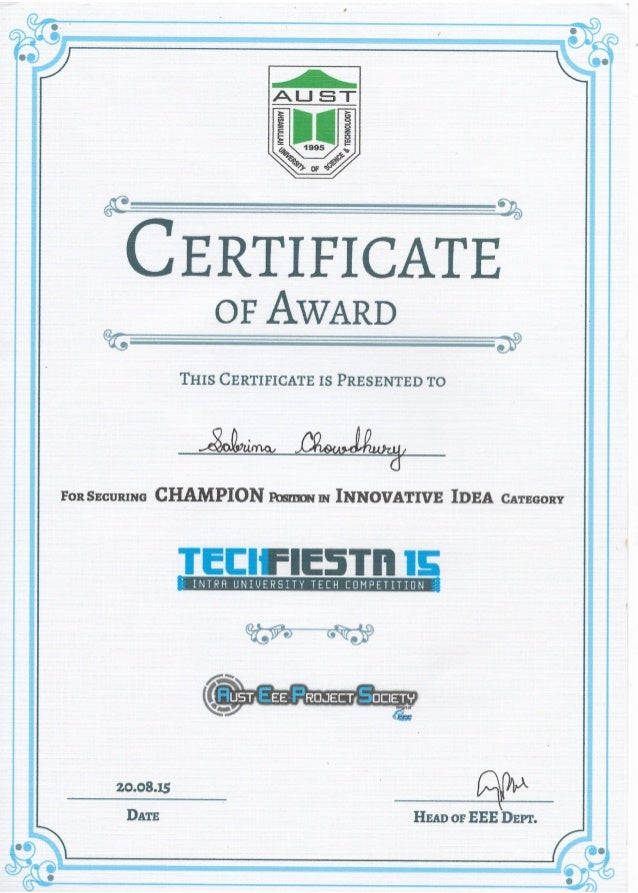 championship award certificate for innovative idea category