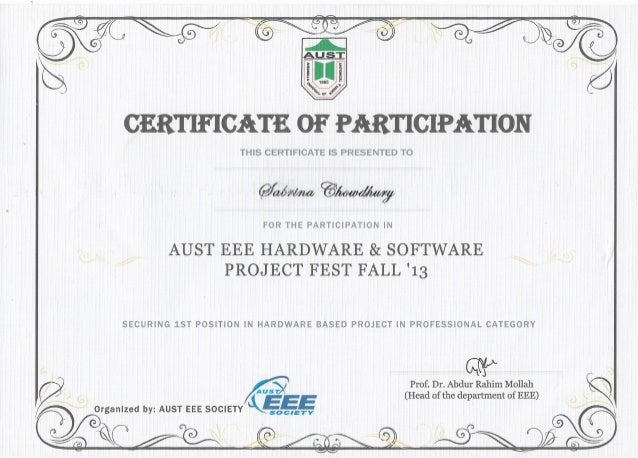 championship award certificate in professional hardware category tech fiesta 2013