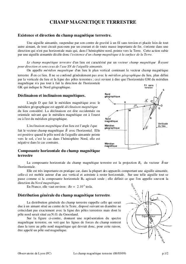 CHAMP MAGNETIQUE TERRESTRE Existence et direction du champ magnétique terrestre. Une aiguille aimantée, suspendue par son ...