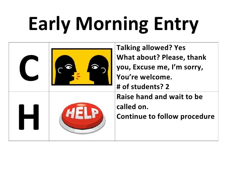Early Morning Entry<br />CTalking allowed? YesWhat about? Please, thank you, Excuse me, I'm sorry, You're welcome.# of stu...