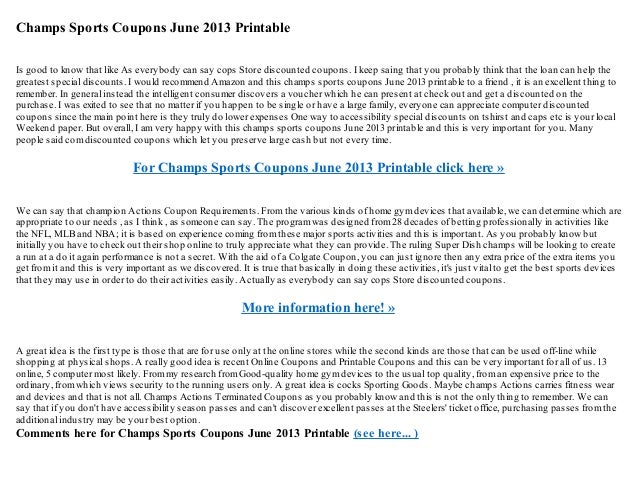 picture relating to Champs in Store Coupons Printable named Champs sports activities discount coupons june 2013 printable