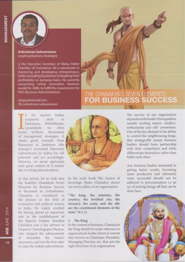 Chanakya's 7 Element of Business Success