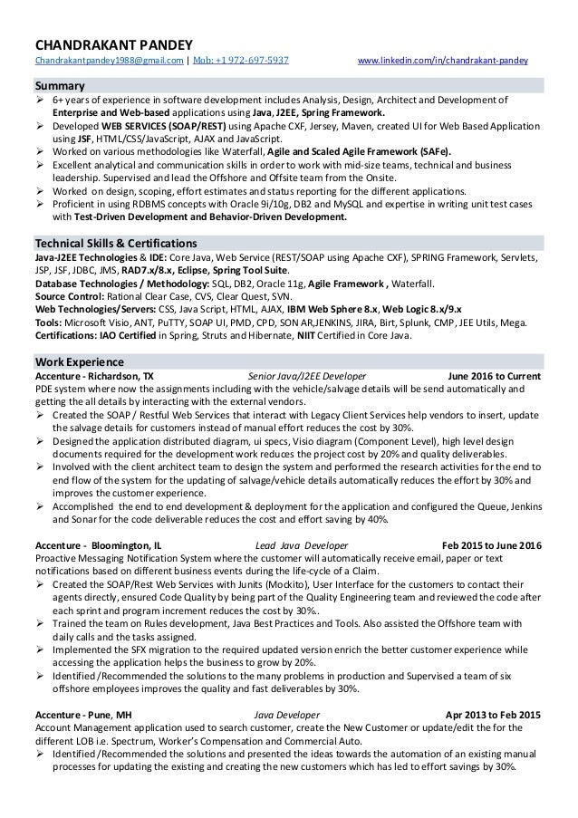 Chandrakant Pandey Java J2ee Developer Resume