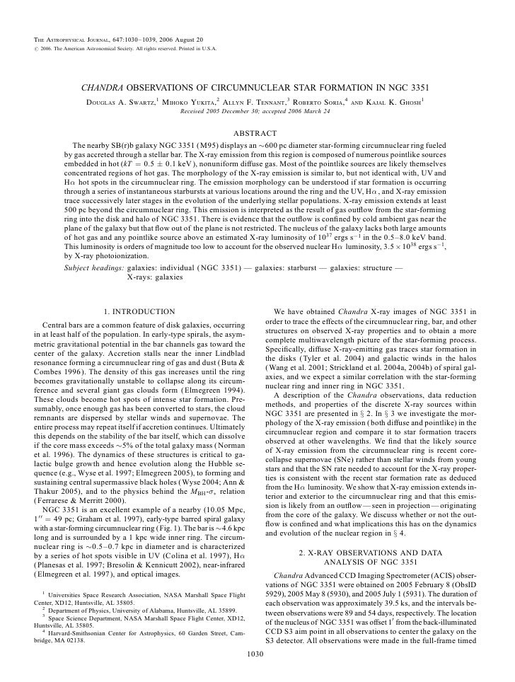 The Astrophysical Journal, 647:1030–1039, 2006 August 20# 2006. The American Astronomical Society. All rights reserved. Pr...