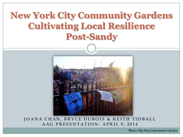 JOANA CHAN, BRYCE DUBOIS & KEITH TIDBALL AAG PRESENTATION - APRIL 9, 2014 New York City Community Gardens Cultivating Loca...