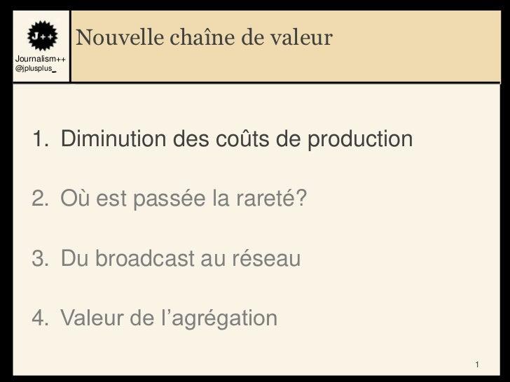 Nouvelle chaîne de valeurJournalism++@jplusplus_    1. Diminution des coûts de production    2. Où est passée la rareté?  ...