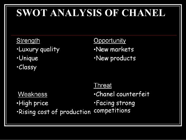 swot analysis for chanel brand Linh dang introduction to management october 28, 2012 chanel for this swot analysis, i decided to discuss about chanel, one of the most luxury brand in the world.