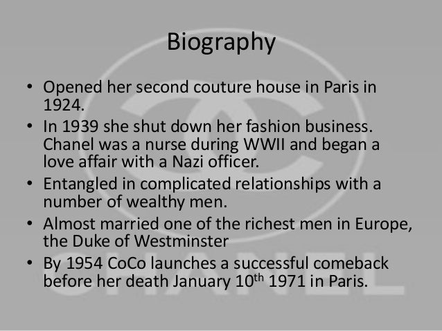 """the life and work of coco chanel Approaching her subject as the journalist she was for 10 years, she plunged into research, reading """"anything she could get her hands on"""" including lisa chaney's """"coco chanel: an intimate life"""" and justine picardie's """"coco chanel: the legend and the life"""" she also noted two scenes in her own work are."""