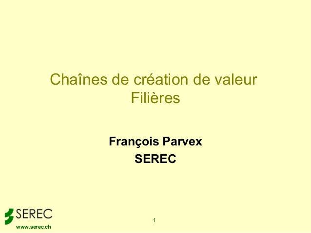Chaînes de création de valeur                     Filières                   François Parvex                       SEREC  ...