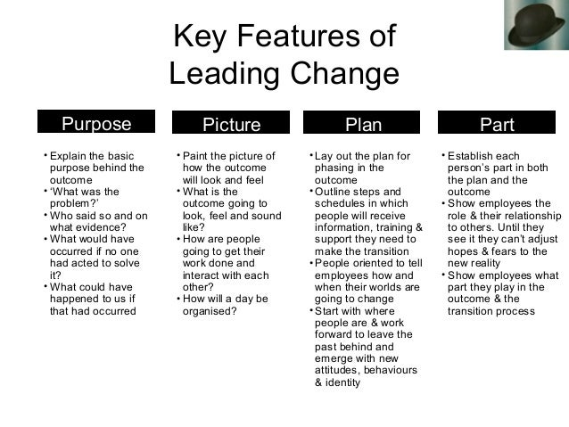 Key Features of Leading Change • Explain the basic purpose behind the outcome • 'What was the problem?' • Who said so and ...
