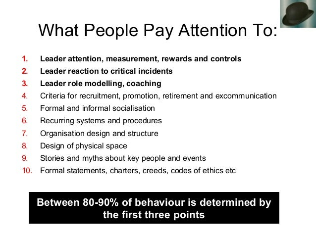 What People Pay Attention To: 1. Leader attention, measurement, rewards and controls 2. Leader reaction to critical incide...