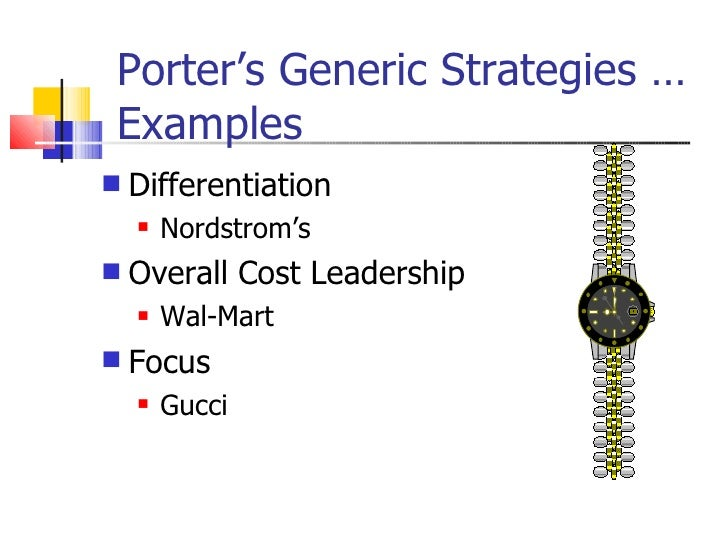"""porter s generic strategies wal mart Answer to according to porter's three generic strategies, walmart is following a business strategy that focuses on """"broad."""