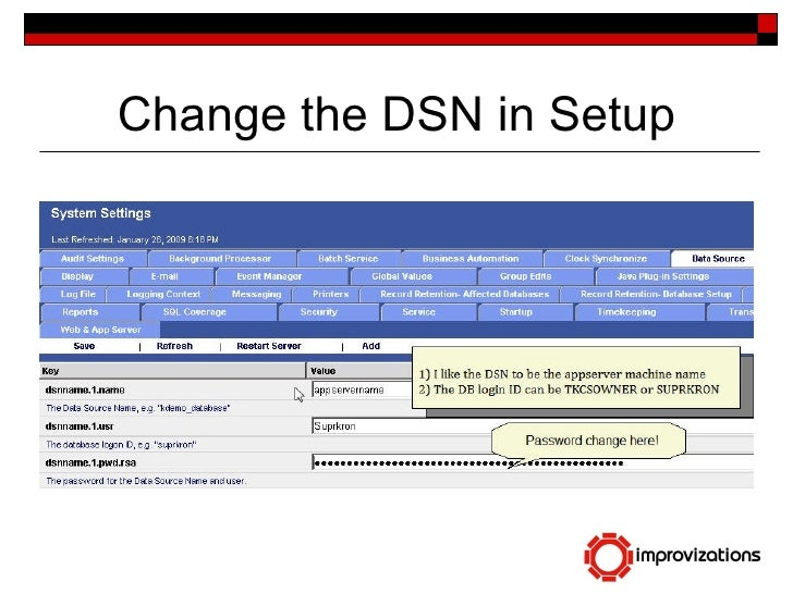 Change The DB & Password for Kronos Workforce Central Timekeeper
