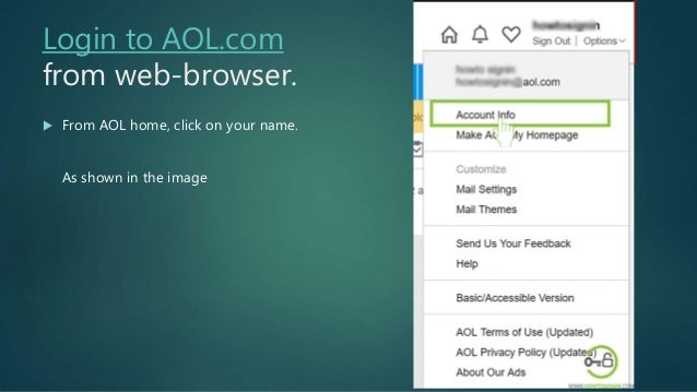 Change aol password from desktop