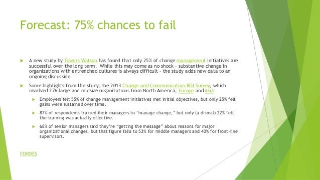Forecast: 75% chances to fail  A new study by Towers Watson has found that only 25% of change management initiatives are ...