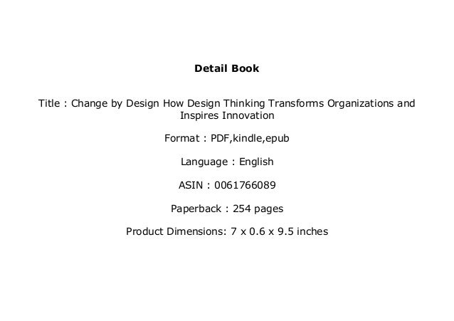 Download P D F Change By Design How Design Thinking Transform
