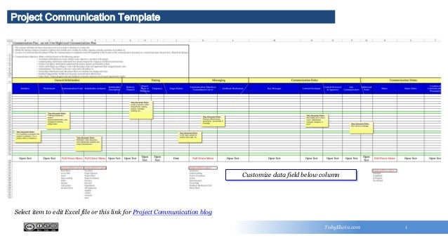 Y Project Communication Template TobyElwin.com 1 Customize data field below column Select item to edit Excel file or this ...