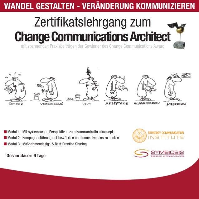 WANDEL GESTALTEN - VERÄNDERUNG KOMMUNIZIEREN  Zertifi katslehrgang zum  Change Communications Architect  mit spannenden Pr...