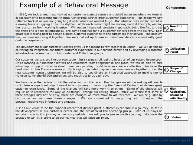 Example of a Behavioral Message  Components  In 2010, we took a long, hard look at our customer contact centers and asked ...