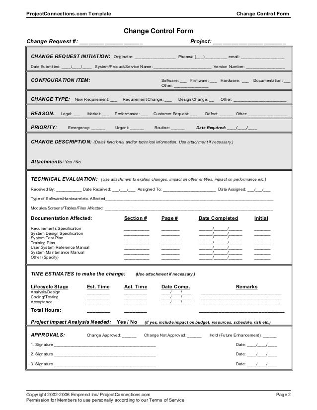Great ... 2. ProjectConnections.com Template Change Control Form ... Awesome Design