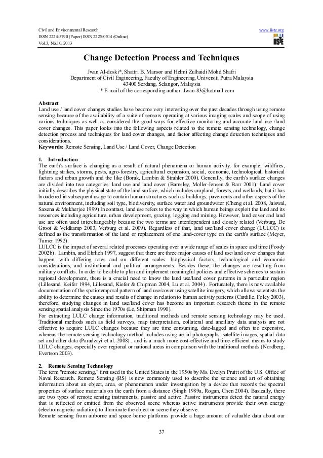 Civil and Environmental Research ISSN 2224-5790 (Paper) ISSN 2225-0514 (Online) Vol.3, No.10, 2013  www.iiste.org  Change ...
