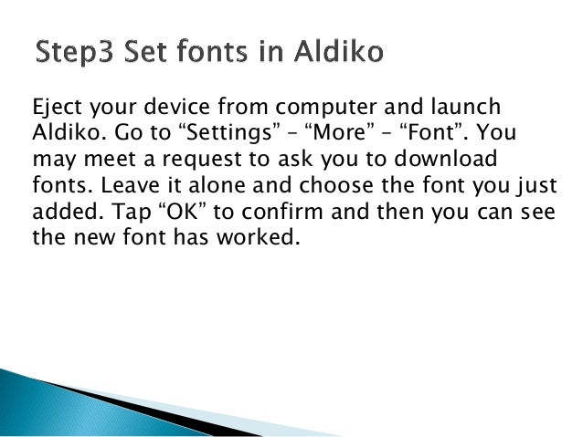 Change font for aldiko on android
