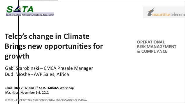 Telco's change in Climate                                                              OPERATIONALBrings new opportunities...