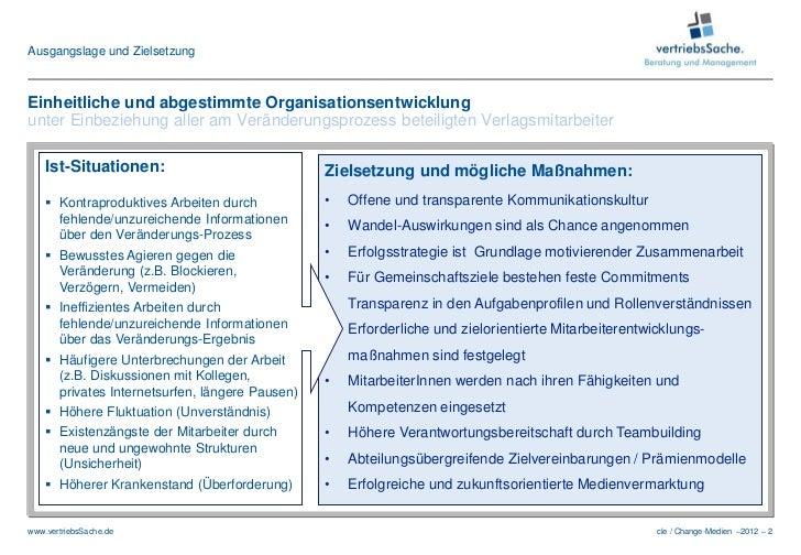 Ausgangslage und ZielsetzungEinheitliche und abgestimmte Organisationsentwicklungunter Einbeziehung aller am Veränderungsp...