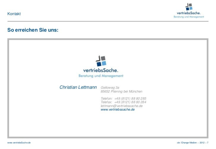 KontaktSo erreichen Sie uns:                        Christian Lettmann   Geltoweg 3a                                      ...