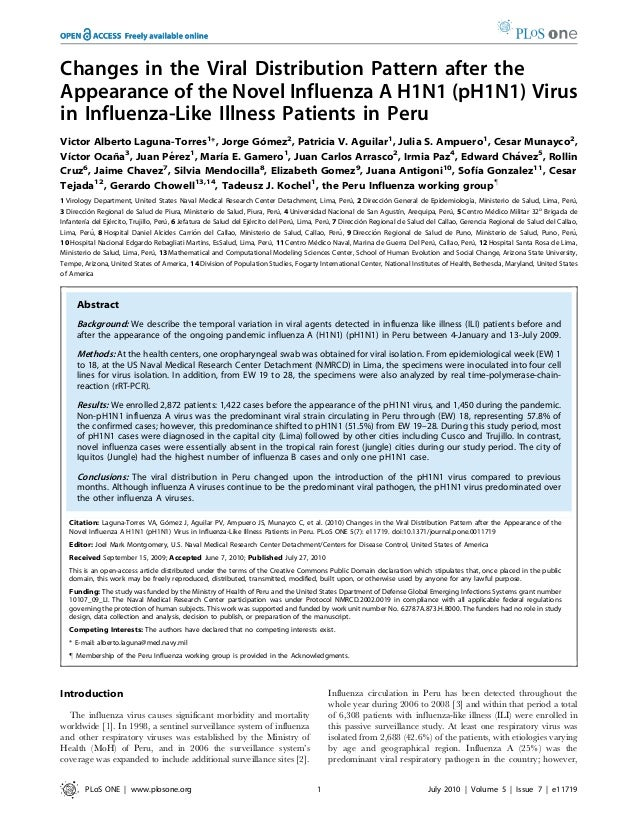 Changes in the Viral Distribution Pattern after theAppearance of the Novel Influenza A H1N1 (pH1N1) Virusin Influenza-Like...