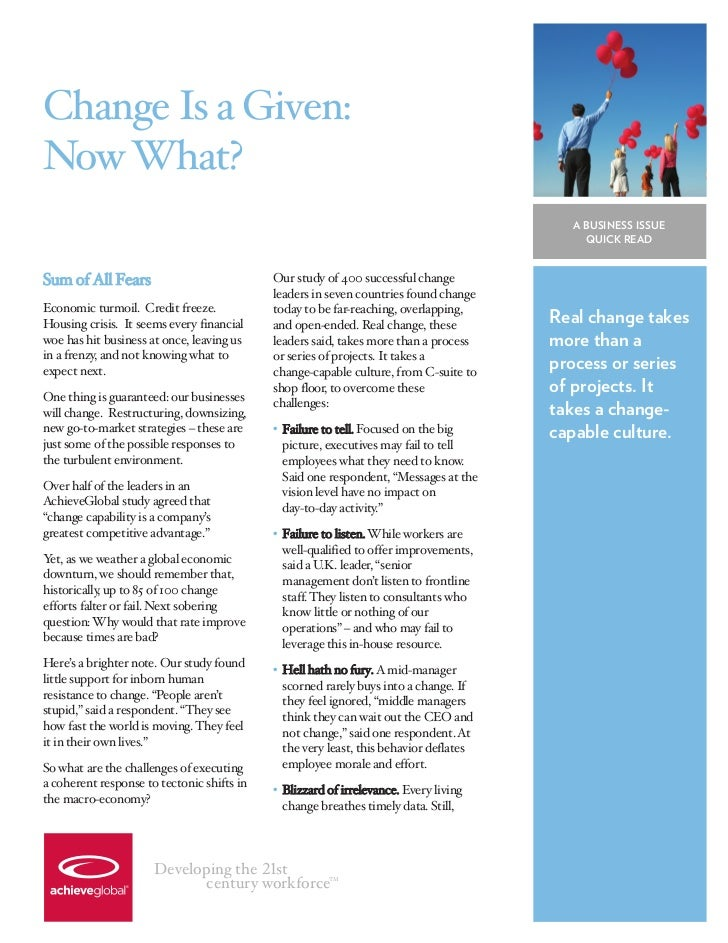 Change Is a Given:Now What?                                                                                         A BUSI...