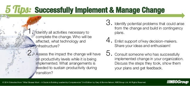 5 Tips:  Successfully Implement & Manage Change  1.  Identify all activities necessary to  complete the change. Who will b...
