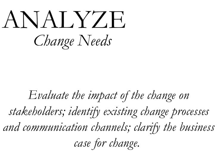 Evaluate the impact of the change on stakeholders; identify existing change processes and communication channels; clarify ...