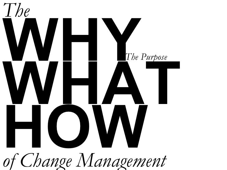 WHY WHAT HOW The of Change Management The Purpose