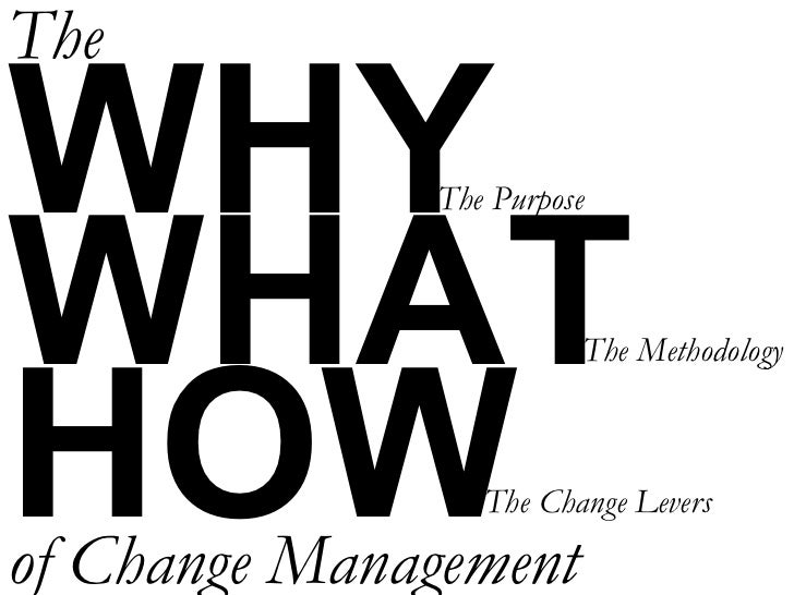 WHY WHAT HOW The of Change Management The Purpose The Change Levers The Methodology