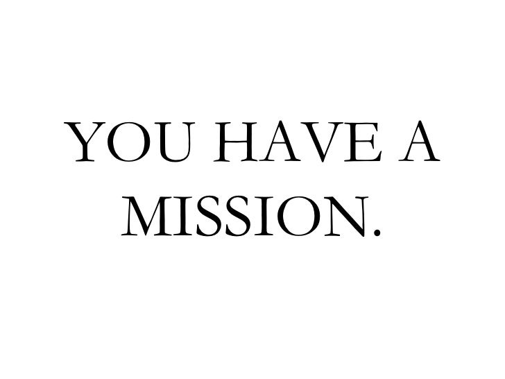 YOU HAVE A  MISSION.