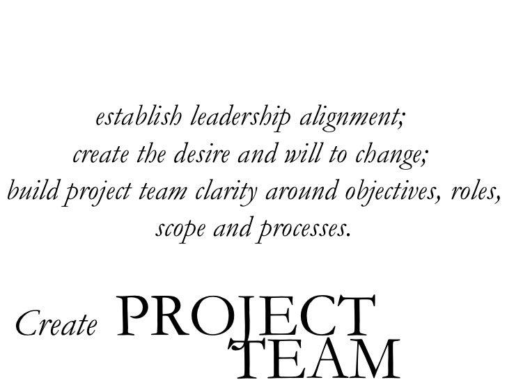establish leadership alignment;  create the desire and will to change;  build project team clarity around objectives, role...