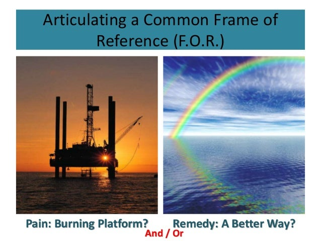 Articulating a Common Frame of Reference (F.O.R.) Pain: Burning Platform? Remedy: A Better Way? And / Or