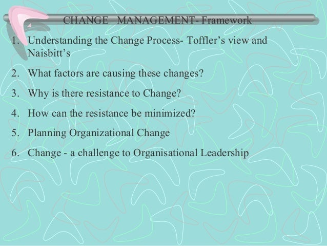 CHANGE MANAGEMENT- Framework 1. Understanding the Change Process- Toffler's view and Naisbitt's 2. What factors are causin...