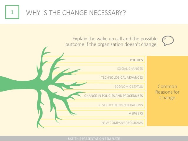1 WHY IS THE CHANGE NECESSARY? Explain the wake up call and the possible outcome if the organization doesn't change. Commo...