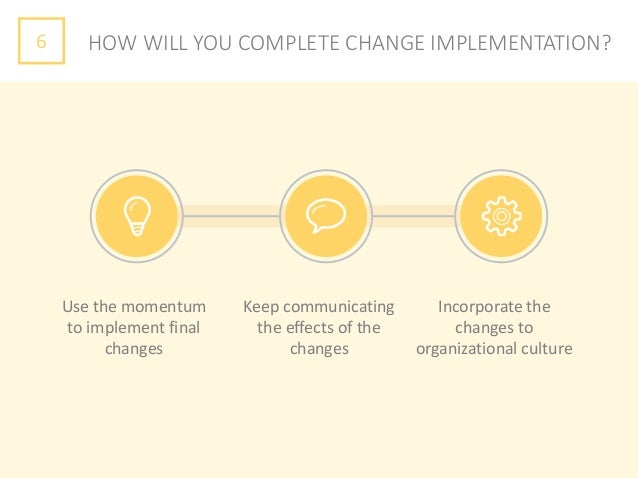 6 HOW WILL YOU COMPLETE CHANGE IMPLEMENTATION? Use the momentum to implement final changes Keep communicating the effects ...