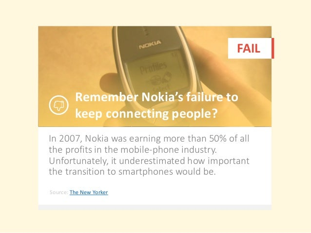 In 2007, Nokia was earning more than 50% of all the profits in the mobile-phone industry. Unfortunately, it underestimated...