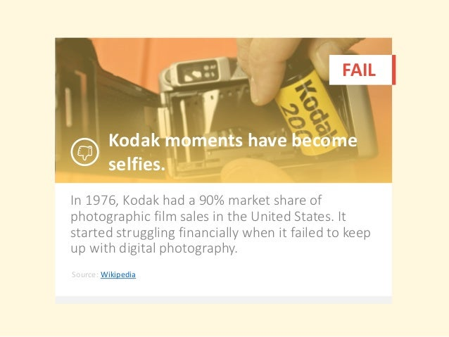 In 1976, Kodak had a 90% market share of photographic film sales in the United States. It started struggling financially w...