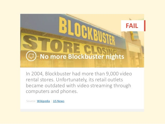 In 2004, Blockbuster had more than 9,000 video rental stores. Unfortunately, its retail outlets became outdated with video...