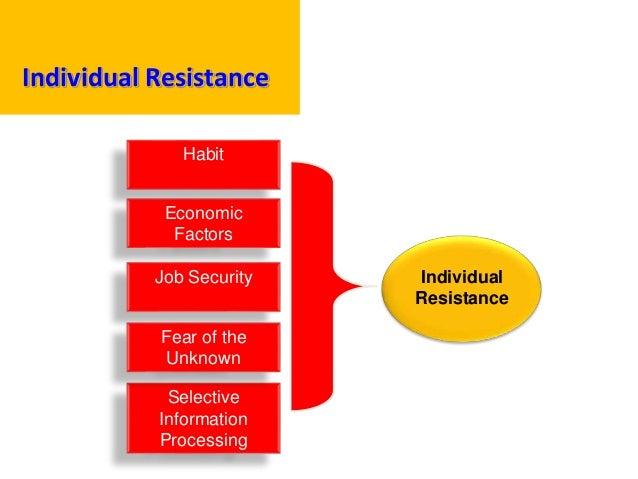 Individual Resistance Individual Resistance Habit Selective Information Processing Economic Factors Job Security Fear of t...
