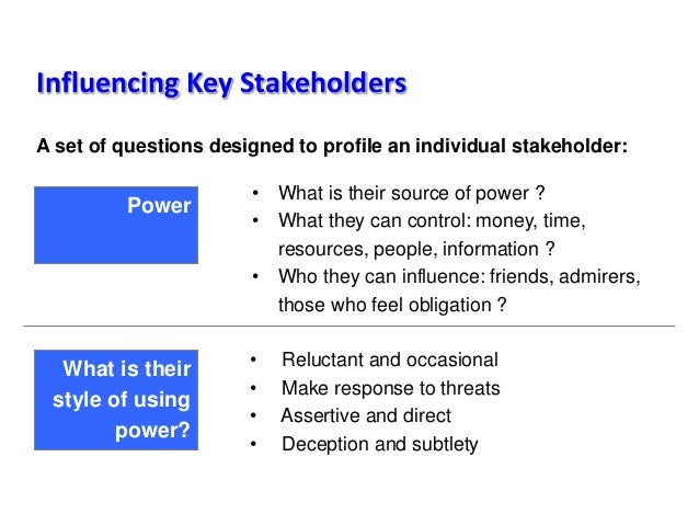 Influencing Key Stakeholders A set of questions designed to profile an individual stakeholder: • Reluctant and occasional ...
